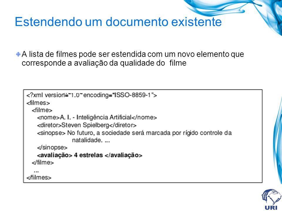 Estendendo um documento existente A lista de filmes pode ser estendida com um novo elemento que corresponde a avaliação da qualidade do filme