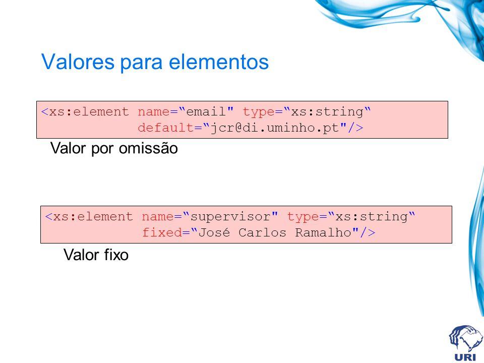 Valores para elementos <xs:element name=email type=xs:string default=jcr@di.uminho.pt /> Valor por omissão <xs:element name=supervisor type=xs:string fixed=José Carlos Ramalho /> Valor fixo