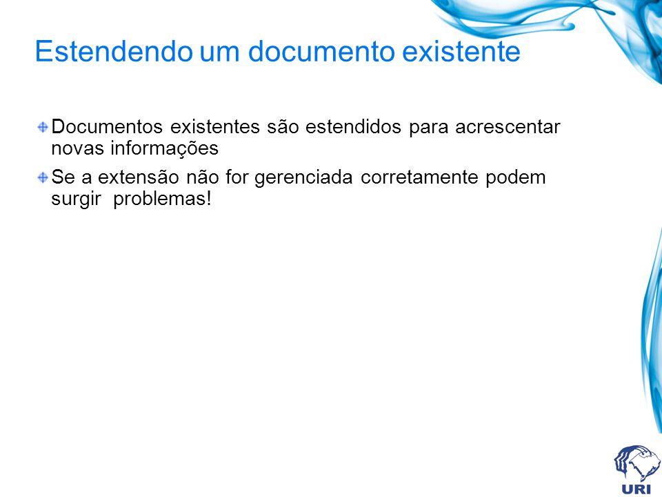 Estendendo um documento existente Documentos existentes são estendidos para acrescentar novas informações Se a extensão não for gerenciada corretamente podem surgir problemas!