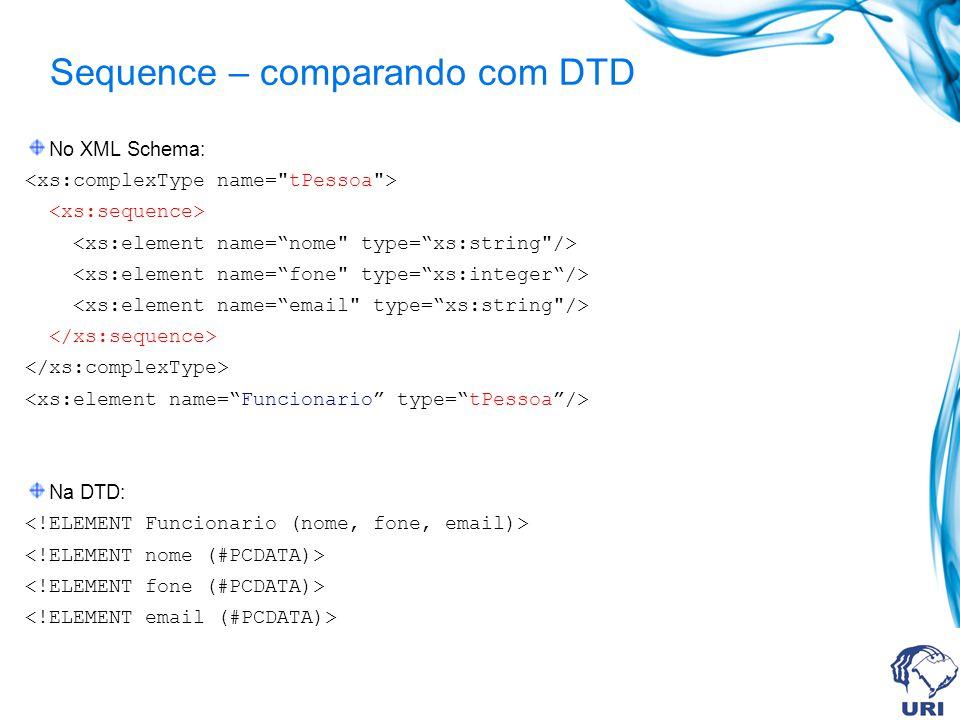 Sequence – comparando com DTD No XML Schema: Na DTD: