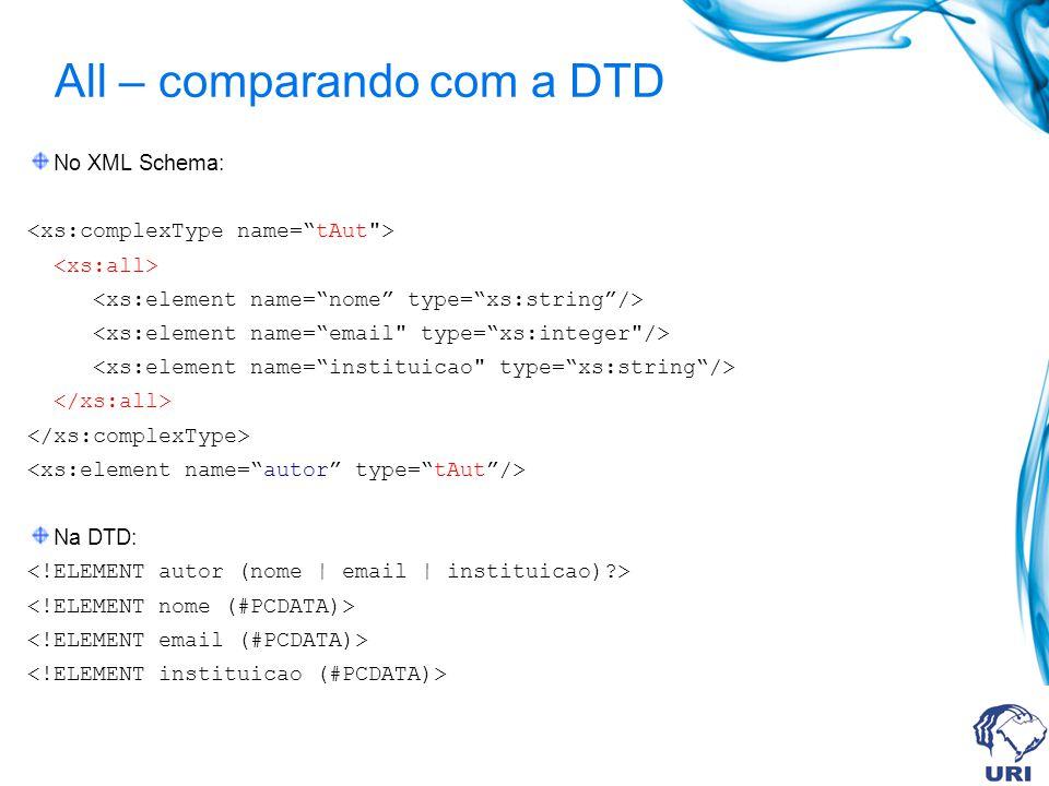 All – comparando com a DTD No XML Schema: Na DTD: