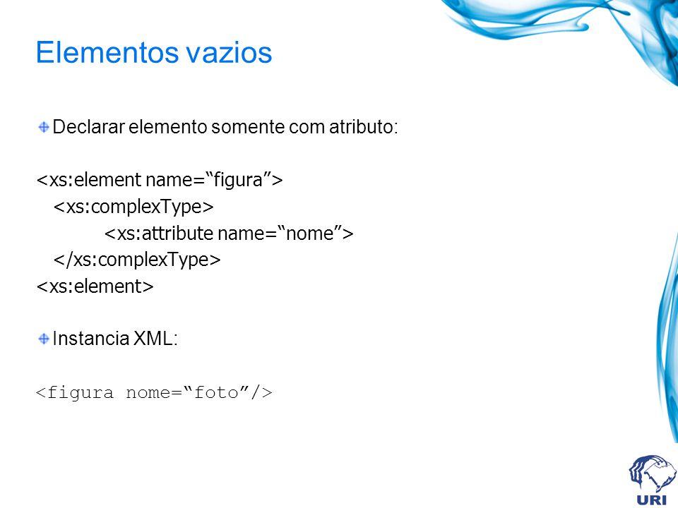 Elementos vazios Declarar elemento somente com atributo: Instancia XML: