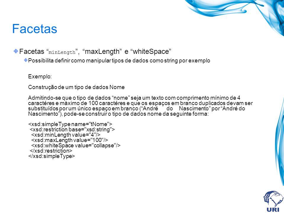 Facetas Facetas minLength, maxLength e whiteSpace Possibilita definir como manipular tipos de dados como string por exemplo Exemplo: Construção de um tipo de dados Nome Admitindo-se que o tipo de dados nome seja um texto com comprimento mínimo de 4 caractéres e máximo de 100 caractéres e que os espaços em branco duplicados devam ser substituídos por um único espaço em branco (André do Nascimento por André do Nascimento), pode-se construir o tipo de dados nome da seguinte forma: