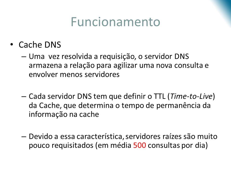 Funcionamento Cache DNS – Uma vez resolvida a requisição, o servidor DNS armazena a relação para agilizar uma nova consulta e envolver menos servidore