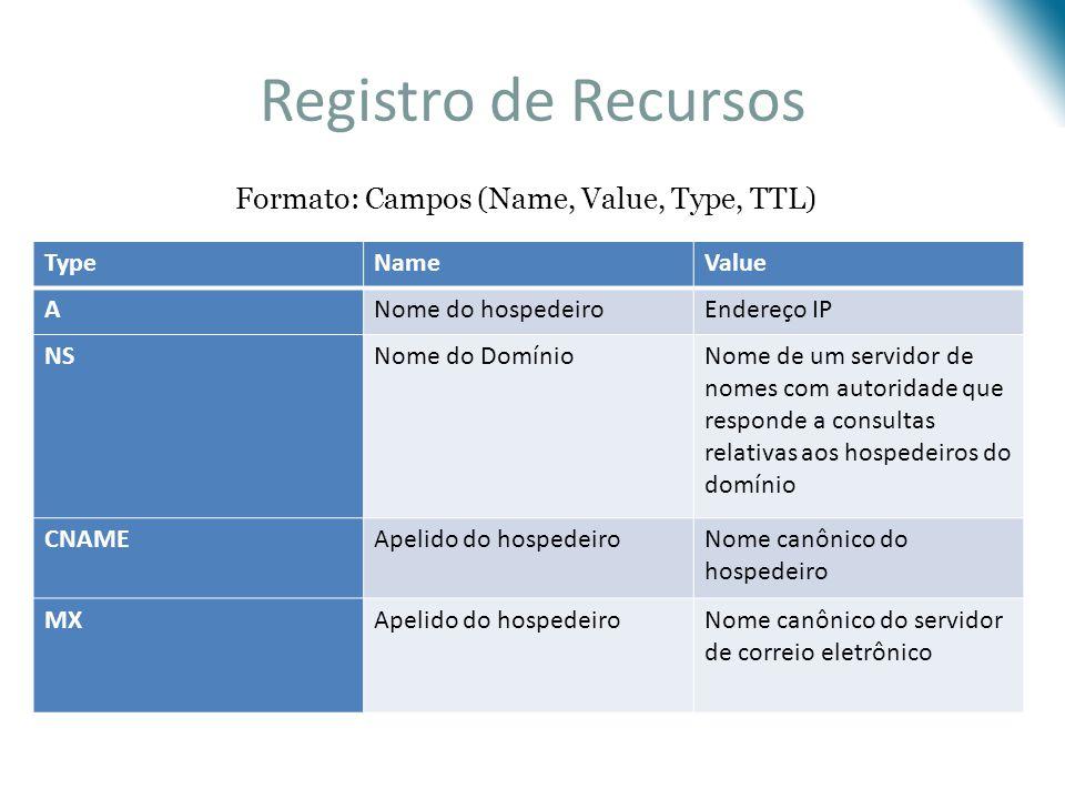 Registro de Recursos TypeNameValue ANome do hospedeiroEndereço IP NSNome do DomínioNome de um servidor de nomes com autoridade que responde a consulta