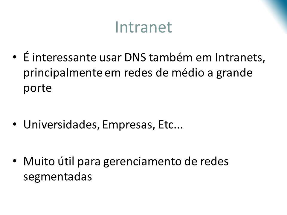 Intranet É interessante usar DNS também em Intranets, principalmente em redes de médio a grande porte Universidades, Empresas, Etc... Muito útil para
