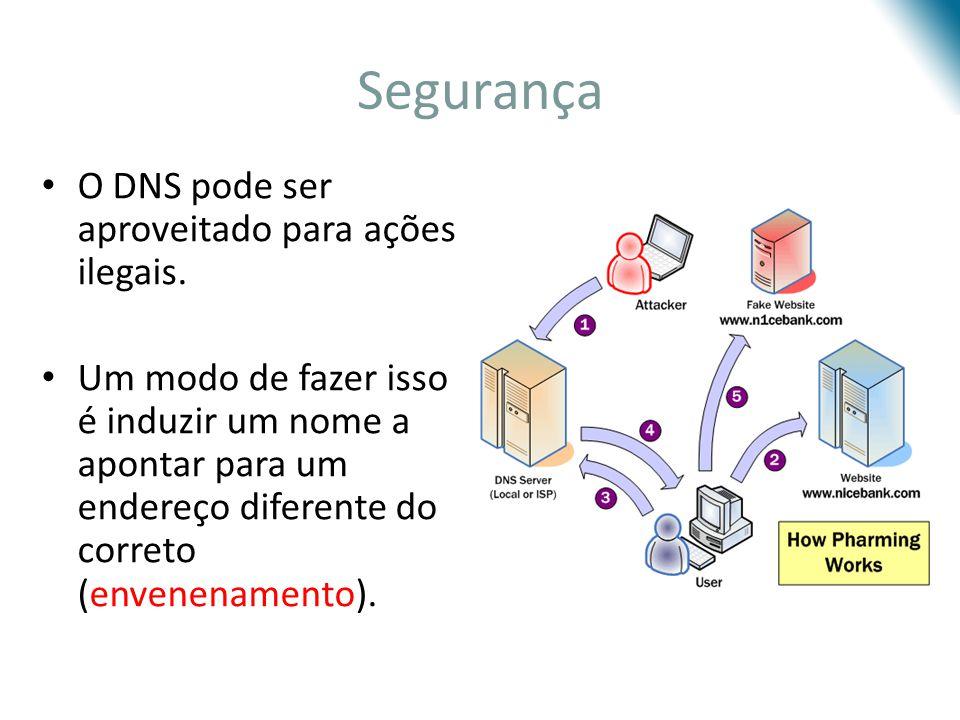 Segurança O DNS pode ser aproveitado para ações ilegais. Um modo de fazer isso é induzir um nome a apontar para um endereço diferente do correto (enve