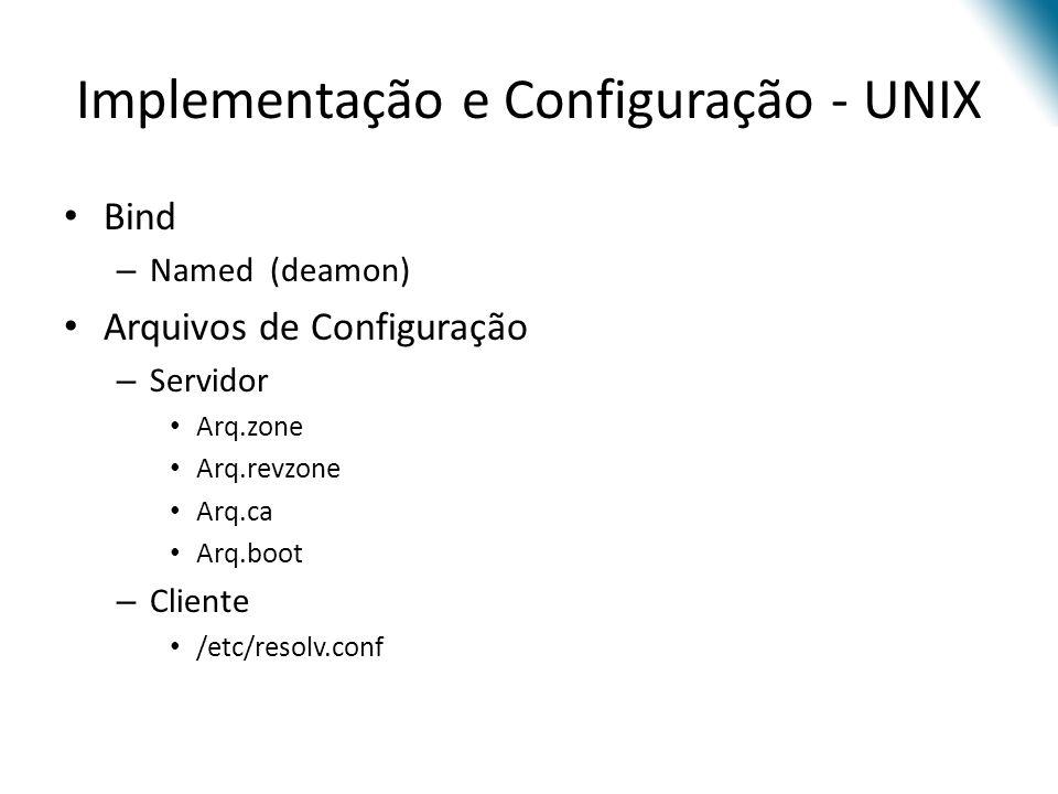 Implementação e Configuração - UNIX Bind – Named (deamon) Arquivos de Configuração – Servidor Arq.zone Arq.revzone Arq.ca Arq.boot – Cliente /etc/reso