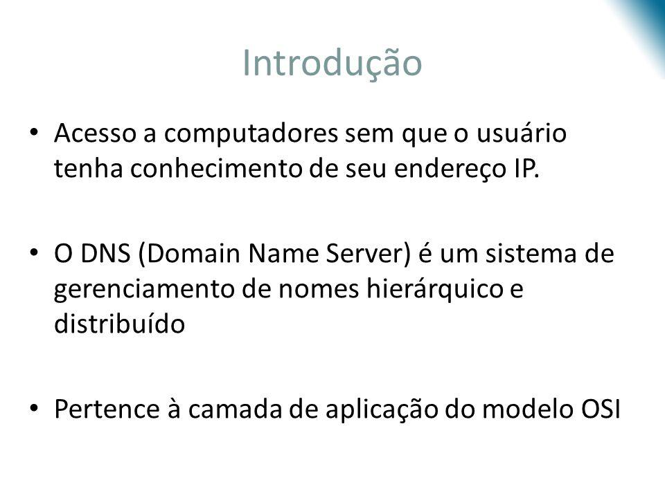 Registro de Recursos TypeNameValue ANome do hospedeiroEndereço IP NSNome do DomínioNome de um servidor de nomes com autoridade que responde a consultas relativas aos hospedeiros do domínio CNAMEApelido do hospedeiroNome canônico do hospedeiro MXApelido do hospedeiroNome canônico do servidor de correio eletrônico Formato: Campos (Name, Value, Type, TTL)