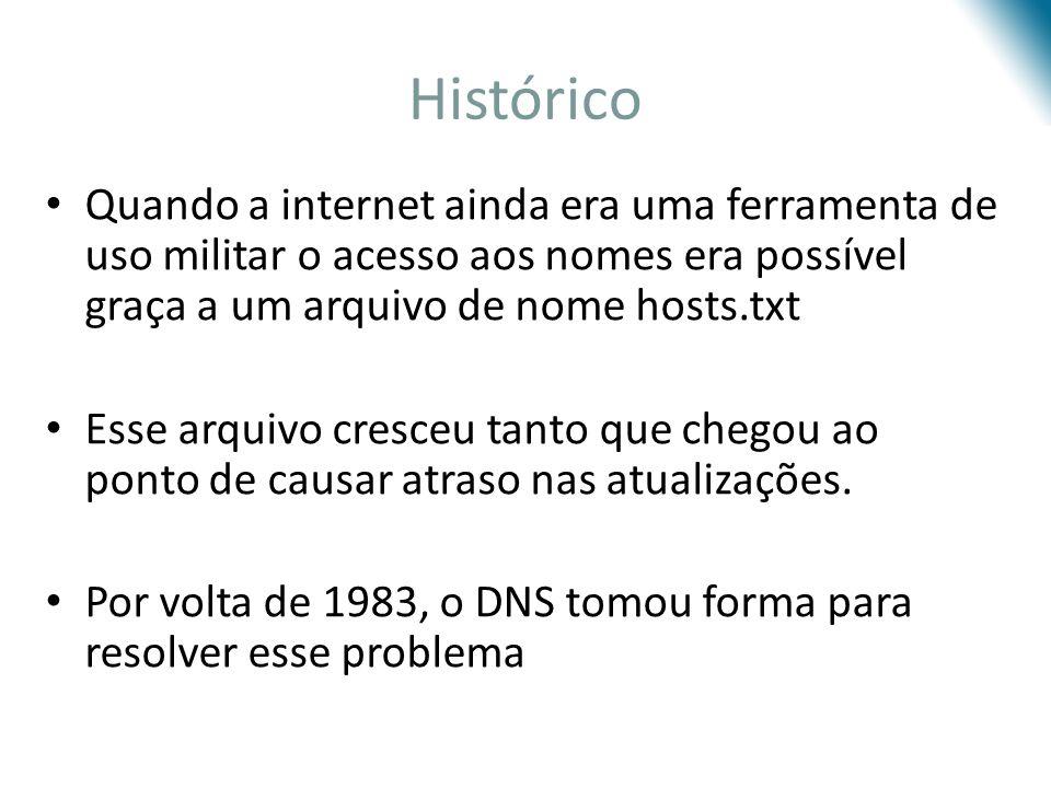 Histórico Quando a internet ainda era uma ferramenta de uso militar o acesso aos nomes era possível graça a um arquivo de nome hosts.txt Esse arquivo