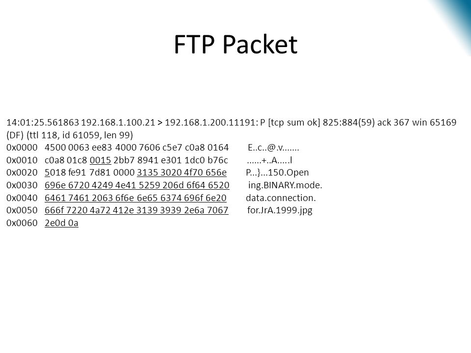 FTP Packet 14:01:25.561863 192.168.1.100.21 > 192.168.1.200.11191: P [tcp sum ok] 825:884(59) ack 367 win 65169 (DF) (ttl 118, id 61059, len 99) 0x000