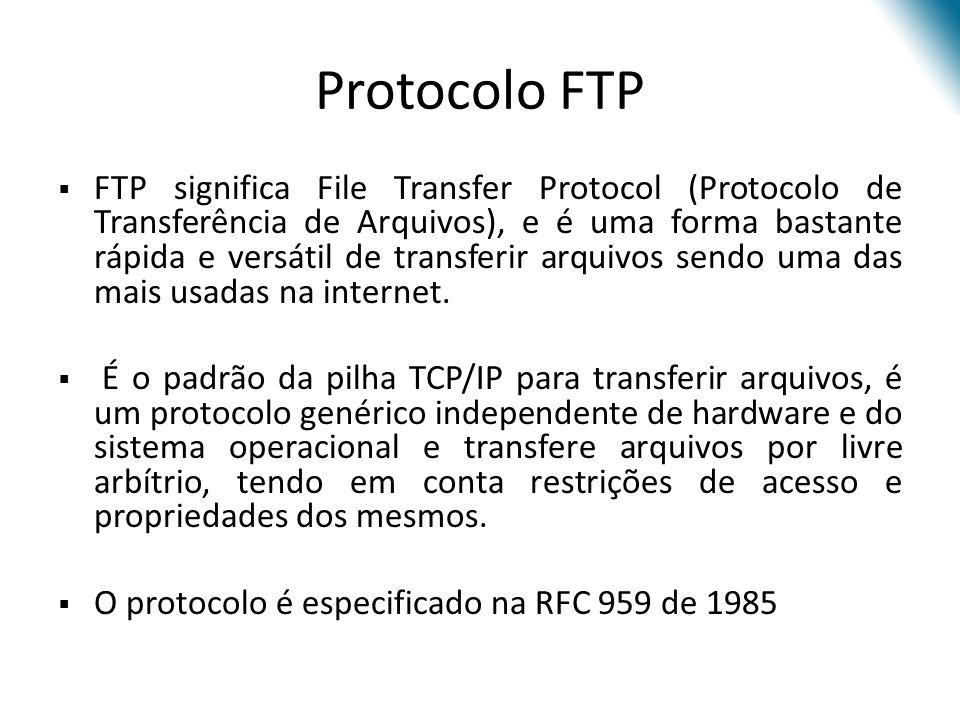 Comandos mais utilizados ComandoArgumentoSignificado CWDdirAltera o diretório DELEfileRemove arquivo MKDdirCria o diretório dir PWD---Mostra o diretório corrente GETfileTransfere dados para o sistema local LIST(dir)Lista o conteúdo do diretório PUTfileSalva dados local para o remoto PORTaddrInforma ao remoto a porta do sistema local TYPE(I,A)Informa transferência binária(I) ou ASCII (A) QUIT---Encerra conexão de controle