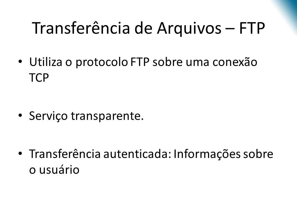 Transferência de Arquivos – FTP Utiliza o protocolo FTP sobre uma conexão TCP Serviço transparente. Transferência autenticada: Informações sobre o usu