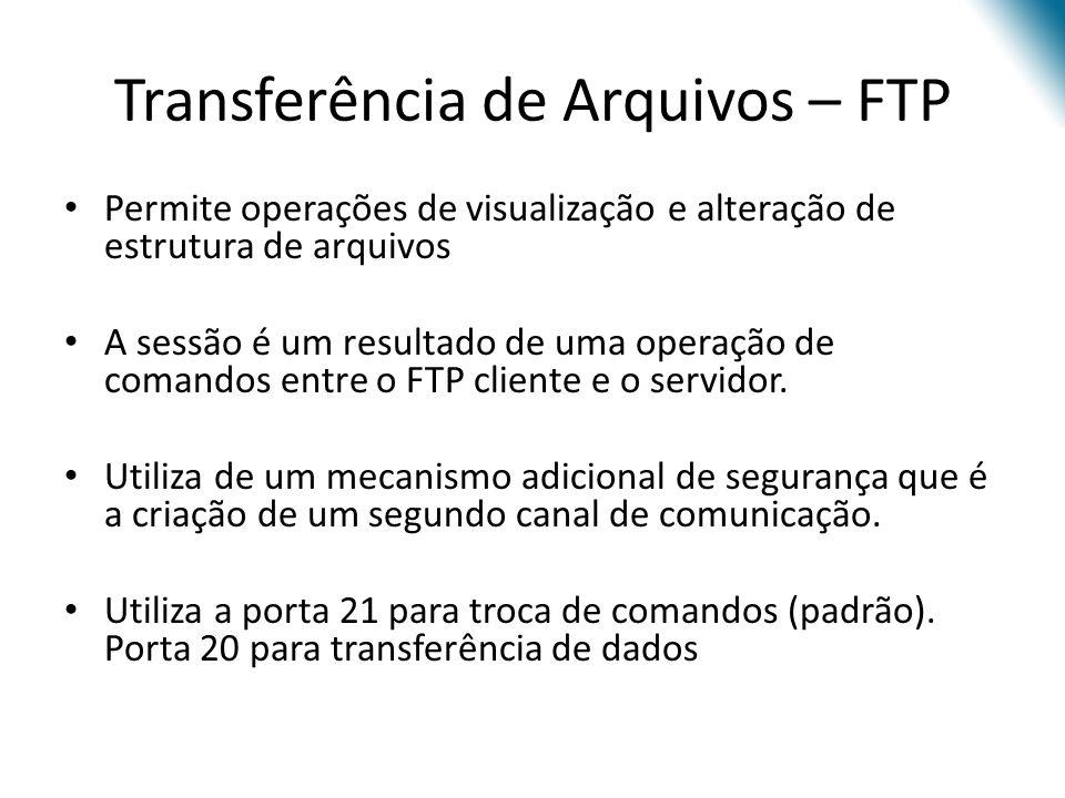 Transferência de Arquivos – FTP Permite operações de visualização e alteração de estrutura de arquivos A sessão é um resultado de uma operação de comandos entre o FTP cliente e o servidor.