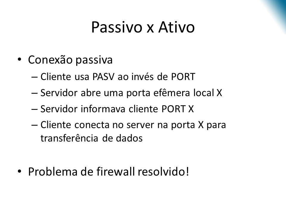 Passivo x Ativo Conexão passiva – Cliente usa PASV ao invés de PORT – Servidor abre uma porta efêmera local X – Servidor informava cliente PORT X – Cliente conecta no server na porta X para transferência de dados Problema de firewall resolvido!
