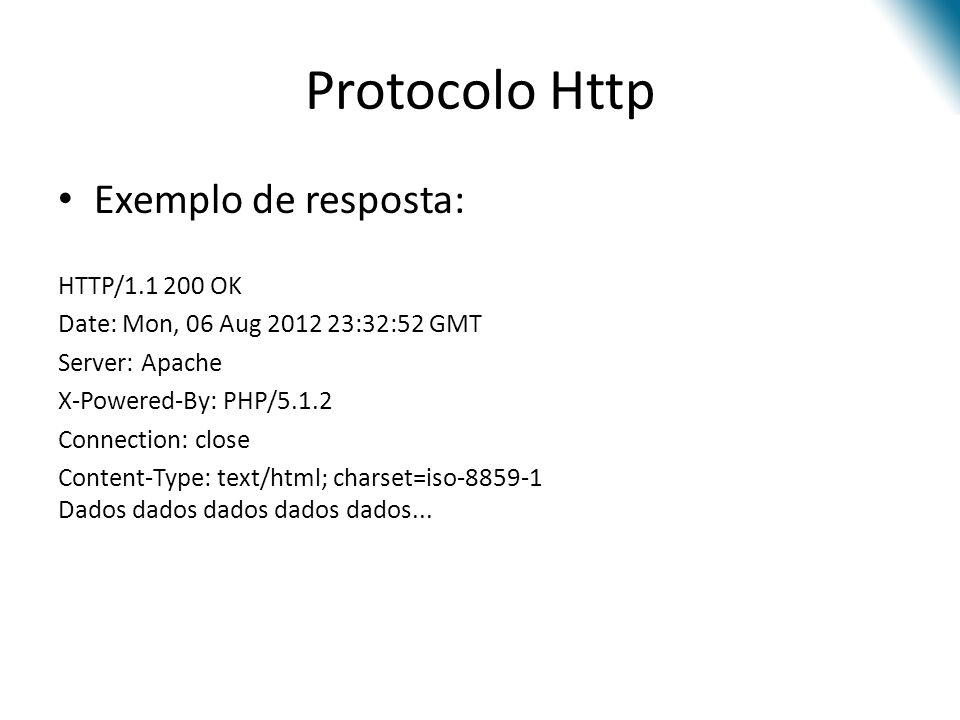 Protocolo Http Exemplo de resposta: HTTP/1.1 200 OK Date: Mon, 06 Aug 2012 23:32:52 GMT Server: Apache X-Powered-By: PHP/5.1.2 Connection: close Conte