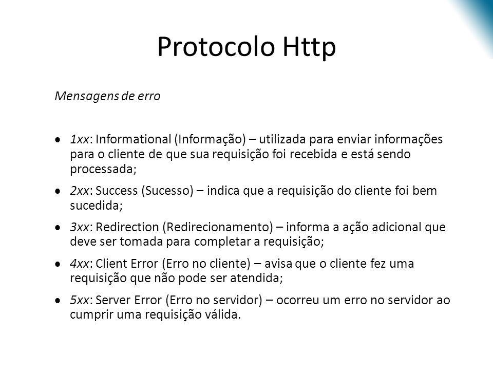 Protocolo Http Mensagens de erro 1xx: Informational (Informação) – utilizada para enviar informações para o cliente de que sua requisição foi recebida