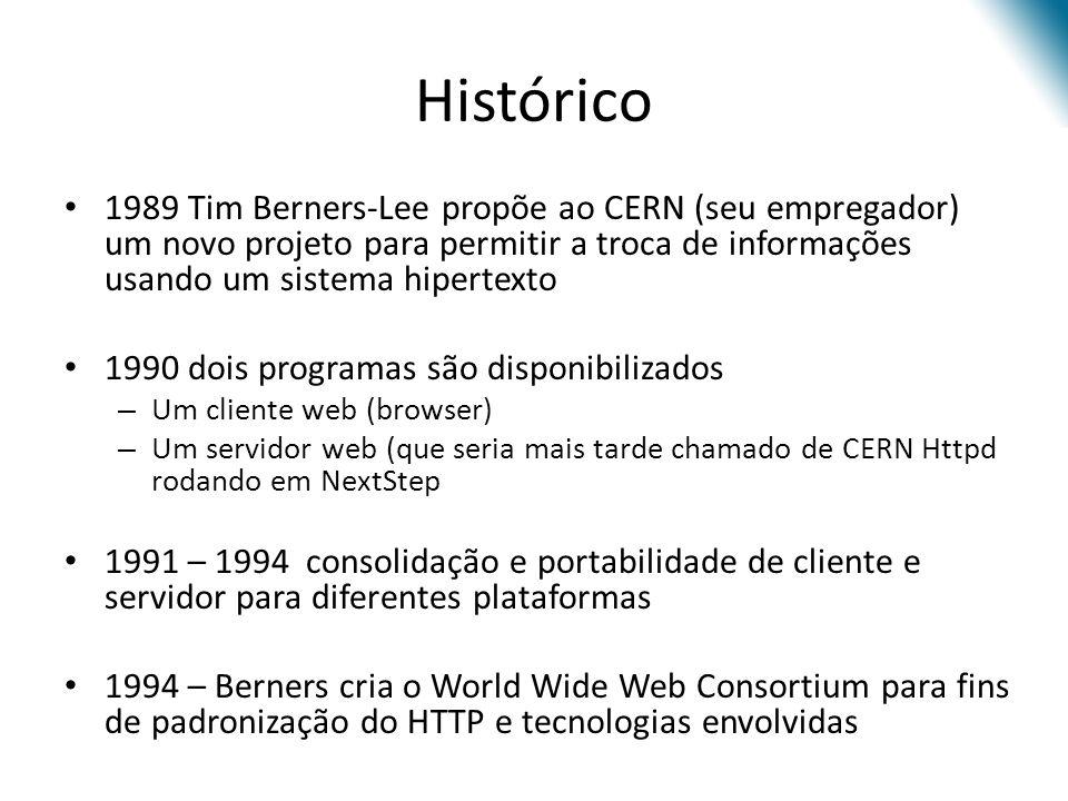 Histórico 1989 Tim Berners-Lee propõe ao CERN (seu empregador) um novo projeto para permitir a troca de informações usando um sistema hipertexto 1990
