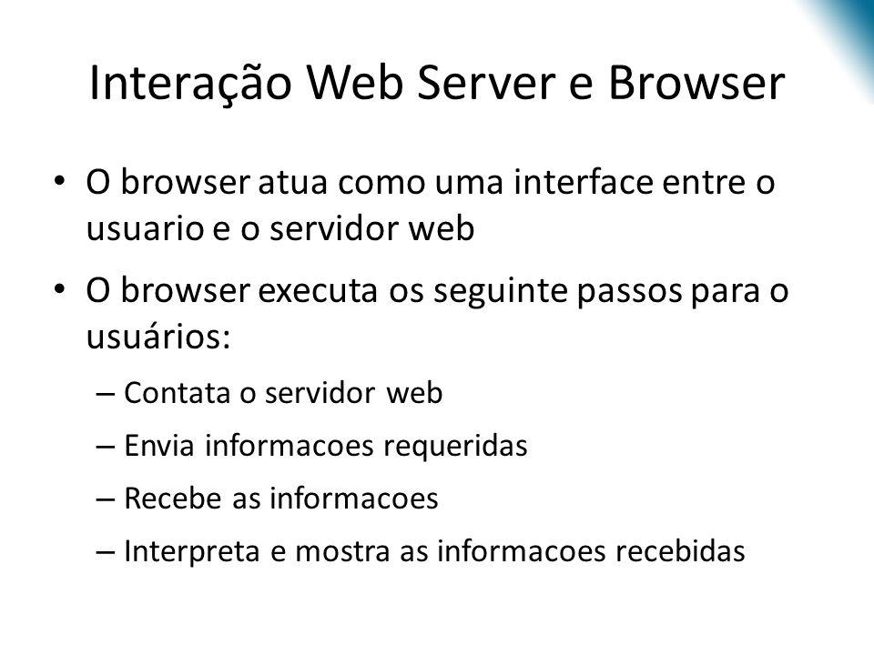 O browser atua como uma interface entre o usuario e o servidor web O browser executa os seguinte passos para o usuários: – Contata o servidor web – En