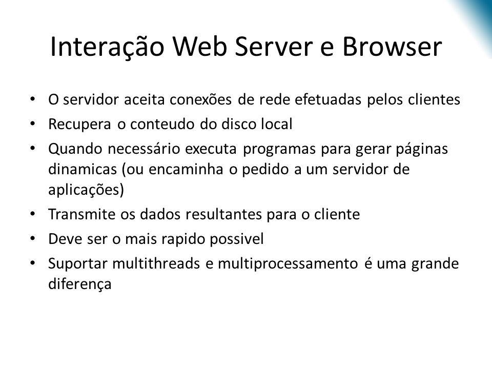 O servidor aceita conexões de rede efetuadas pelos clientes Recupera o conteudo do disco local Quando necessário executa programas para gerar páginas