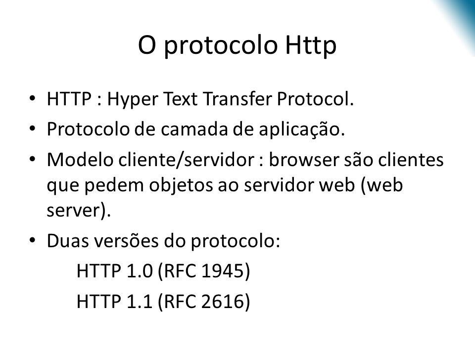 O protocolo Http HTTP : Hyper Text Transfer Protocol. Protocolo de camada de aplicação. Modelo cliente/servidor : browser são clientes que pedem objet