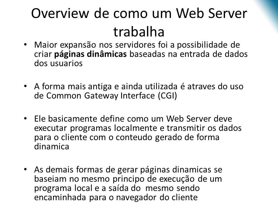 Overview de como um Web Server trabalha Maior expansão nos servidores foi a possibilidade de criar páginas dinâmicas baseadas na entrada de dados dos
