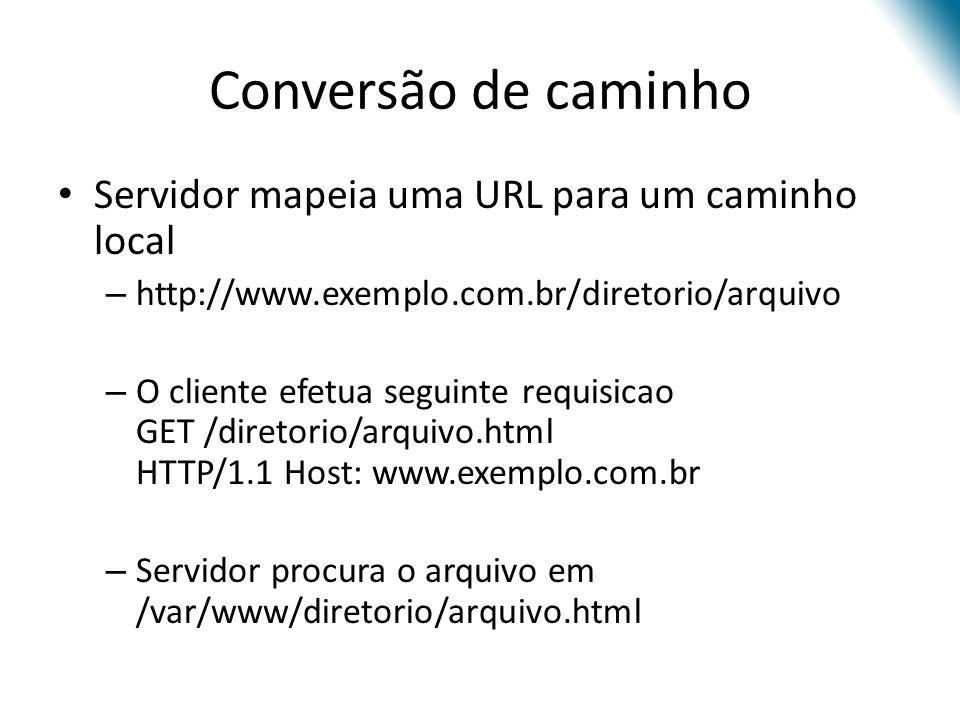 Conversão de caminho Servidor mapeia uma URL para um caminho local – http://www.exemplo.com.br/diretorio/arquivo – O cliente efetua seguinte requisica