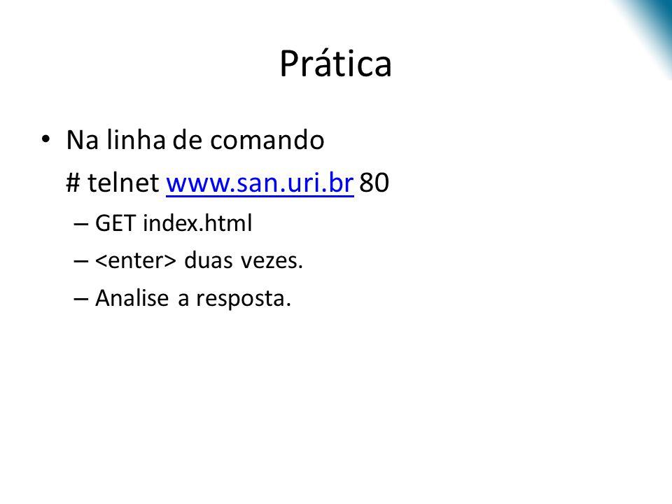 Prática Na linha de comando # telnet www.san.uri.br 80www.san.uri.br – GET index.html – duas vezes. – Analise a resposta.