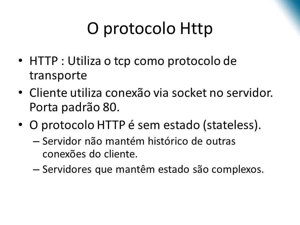 O protocolo Http HTTP : Utiliza o tcp como protocolo de transporte Cliente utiliza conexão via socket no servidor. Porta padrão 80. O protocolo HTTP é