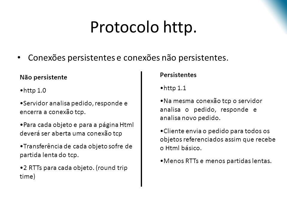 Protocolo http. Conexões persistentes e conexões não persistentes. Não persistente http 1.0 Servidor analisa pedido, responde e encerra a conexão tcp.