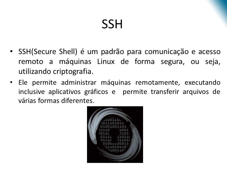Criado pela empresa SSH Communications Security em 1995, com implementação livre (OpenSSH) Plataforma POSIX (Unix, Linux, etc) http://www.ssh.fi SSH