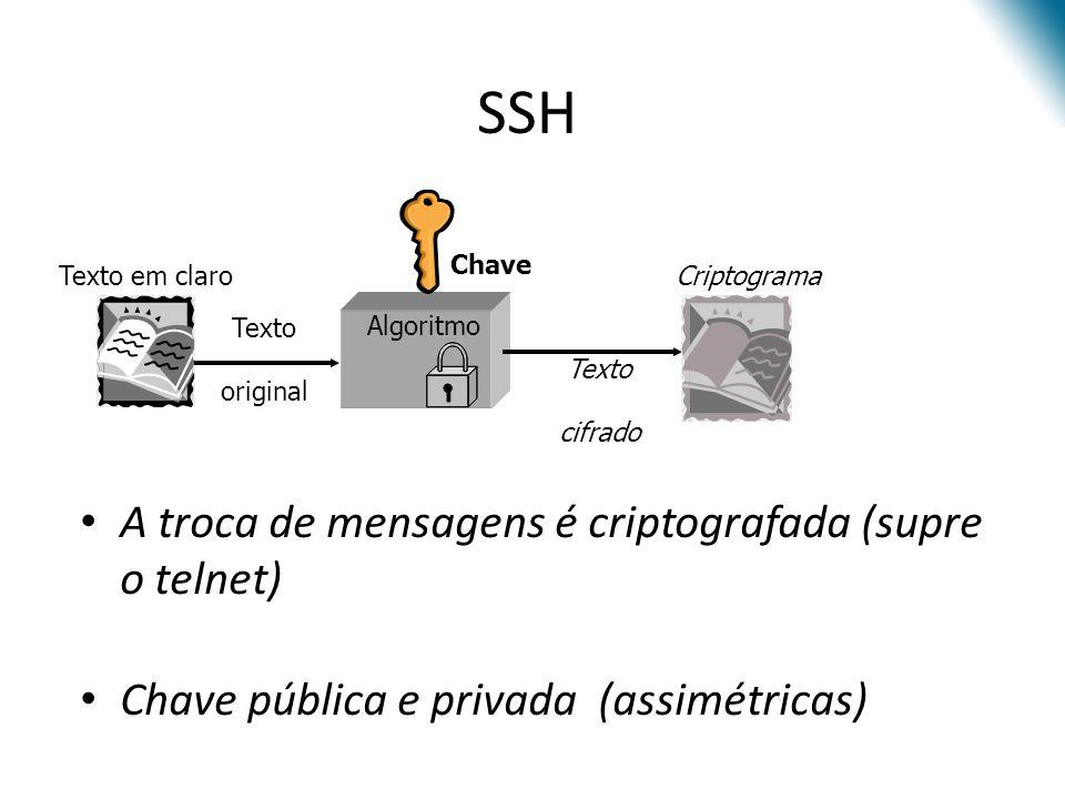 A troca de mensagens é criptografada (supre o telnet) Chave pública e privada (assimétricas) SSH Texto original Chave Algoritmo Texto cifrado CriptogramaTexto em claro