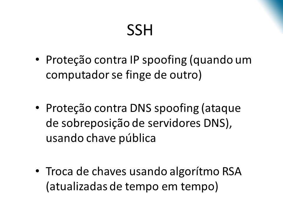 Proteção contra IP spoofing (quando um computador se finge de outro) Proteção contra DNS spoofing (ataque de sobreposição de servidores DNS), usando chave pública Troca de chaves usando algorítmo RSA (atualizadas de tempo em tempo) SSH