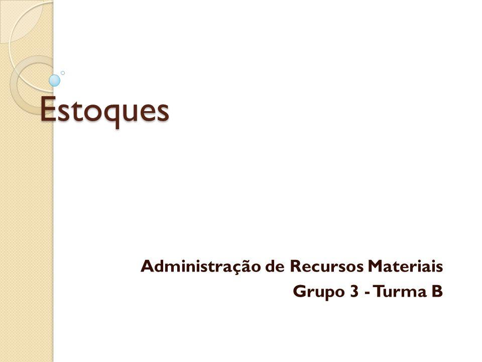 Estoques Administração de Recursos Materiais Grupo 3 - Turma B