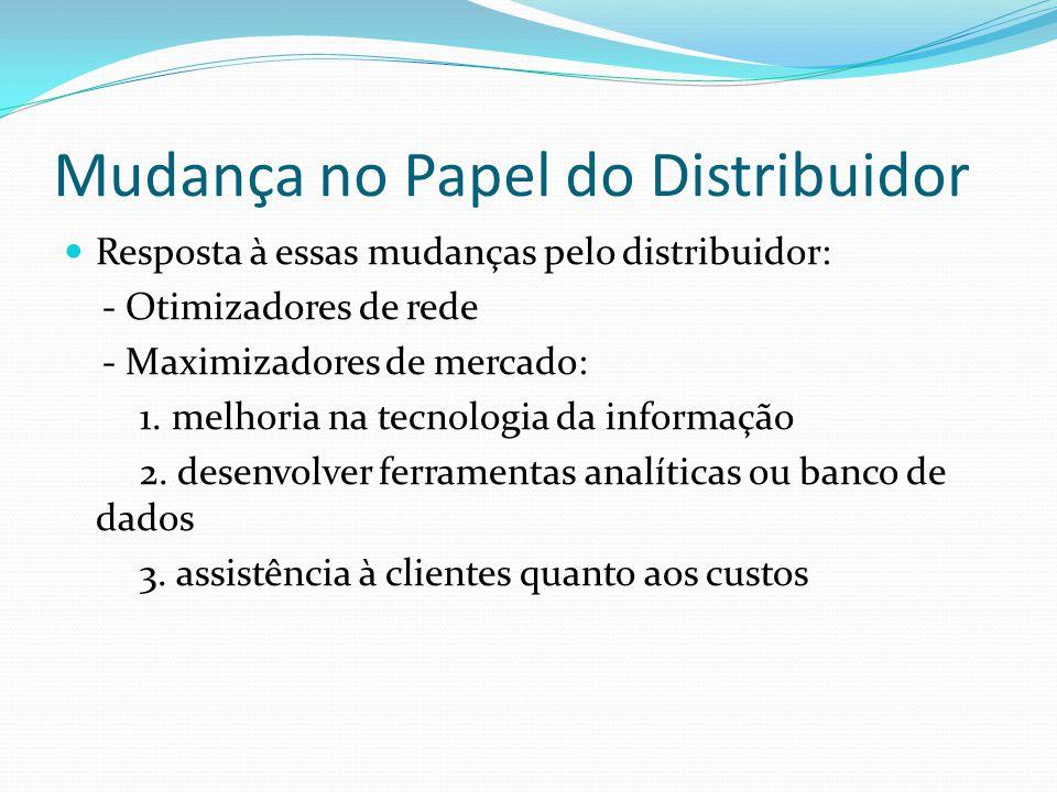 Mudança no Papel do Distribuidor Resposta à essas mudanças pelo distribuidor: - Otimizadores de rede - Maximizadores de mercado: 1. melhoria na tecnol
