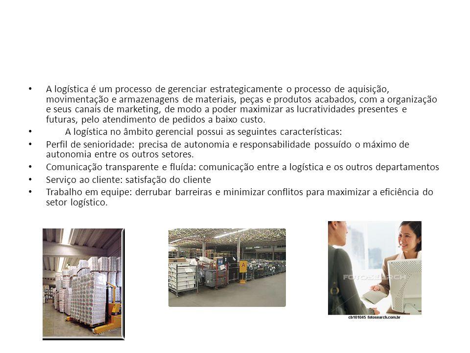 A logística é um processo de gerenciar estrategicamente o processo de aquisição, movimentação e armazenagens de materiais, peças e produtos acabados,