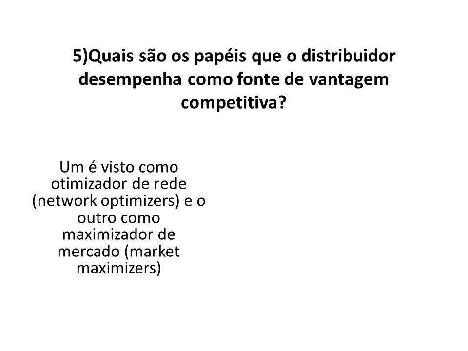 5)Quais são os papéis que o distribuidor desempenha como fonte de vantagem competitiva.