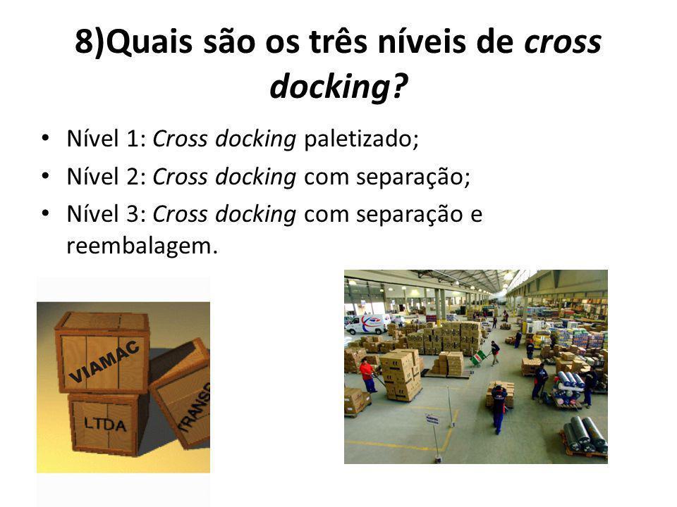 8)Quais são os três níveis de cross docking.