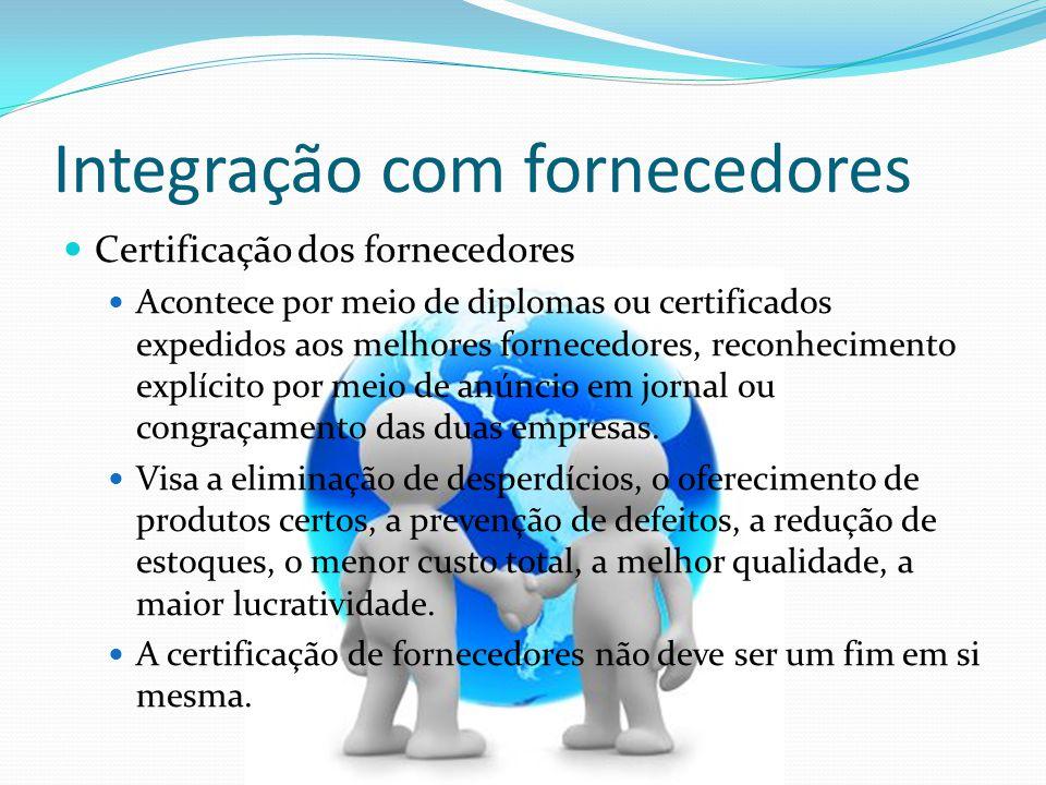 Integração com fornecedores Certificação dos fornecedores Acontece por meio de diplomas ou certificados expedidos aos melhores fornecedores, reconheci