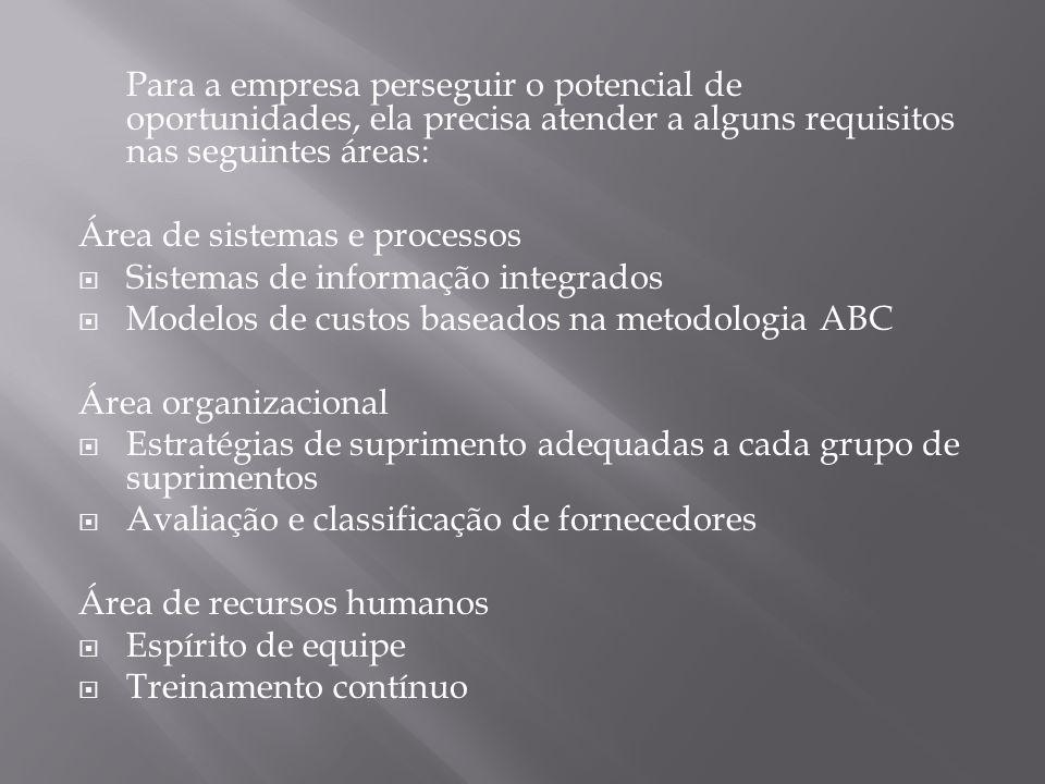 Para a empresa perseguir o potencial de oportunidades, ela precisa atender a alguns requisitos nas seguintes áreas: Área de sistemas e processos Siste