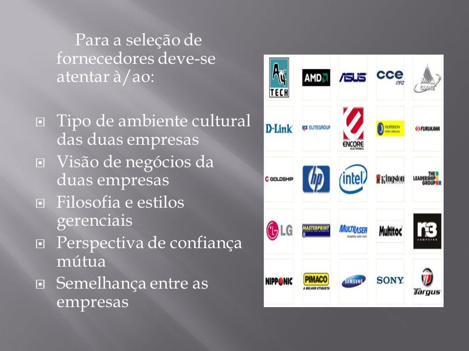 Para a seleção de fornecedores deve-se atentar à/ao: Tipo de ambiente cultural das duas empresas Visão de negócios da duas empresas Filosofia e estilo