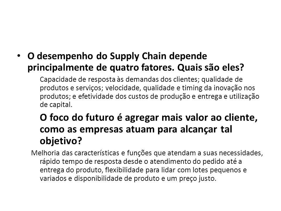 O desempenho do Supply Chain depende principalmente de quatro fatores.