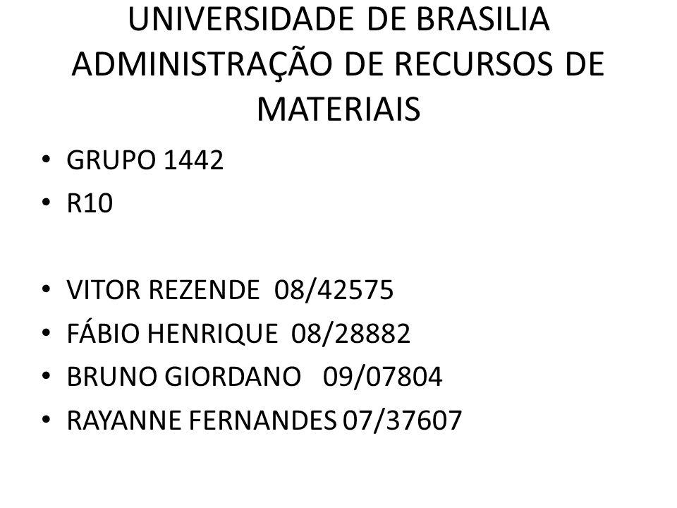 UNIVERSIDADE DE BRASILIA ADMINISTRAÇÃO DE RECURSOS DE MATERIAIS GRUPO 1442 R10 VITOR REZENDE 08/42575 FÁBIO HENRIQUE 08/28882 BRUNO GIORDANO 09/07804 RAYANNE FERNANDES 07/37607