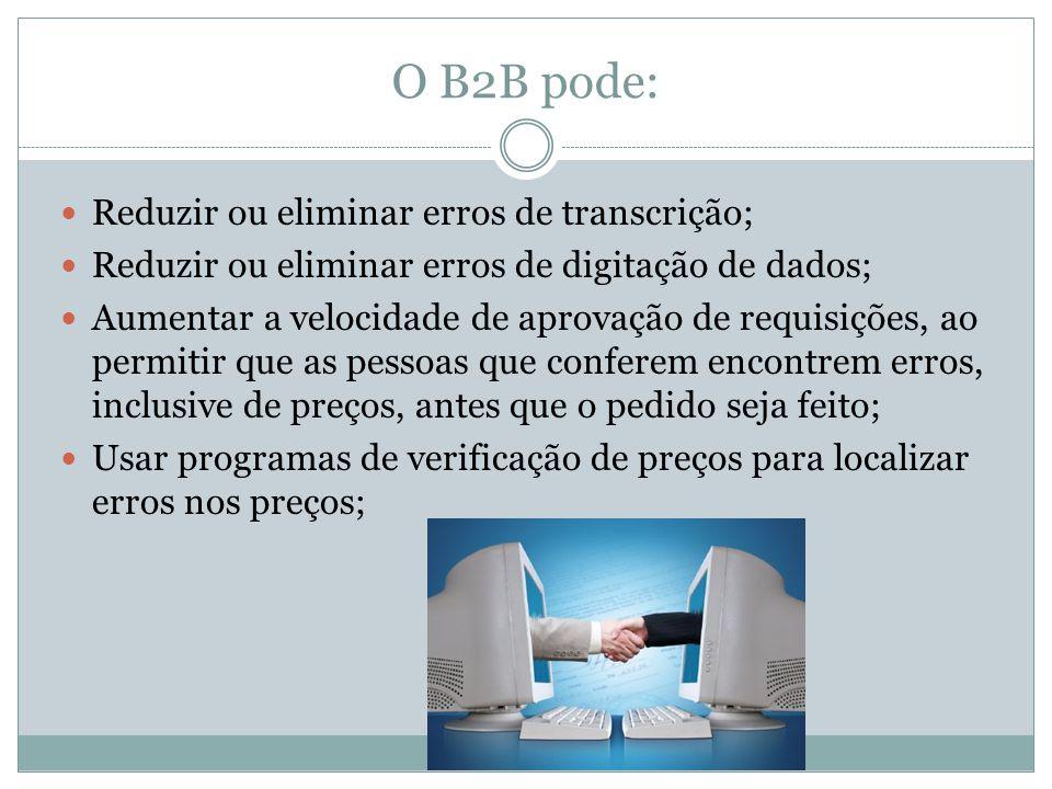 O B2B pode: Reduzir ou eliminar erros de transcrição; Reduzir ou eliminar erros de digitação de dados; Aumentar a velocidade de aprovação de requisições, ao permitir que as pessoas que conferem encontrem erros, inclusive de preços, antes que o pedido seja feito; Usar programas de verificação de preços para localizar erros nos preços;