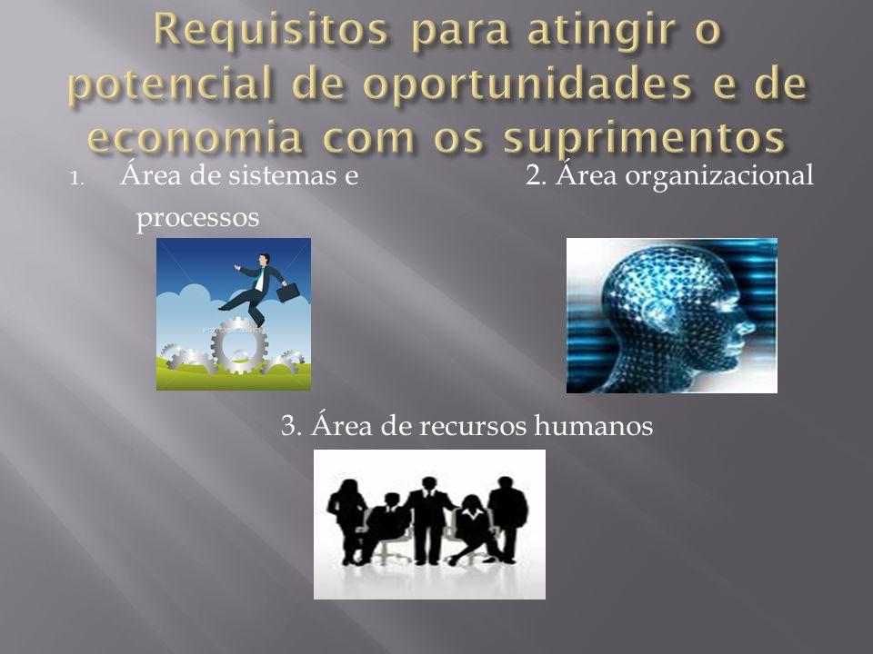 1. Área de sistemas e 2. Área organizacional processos 3. Área de recursos humanos