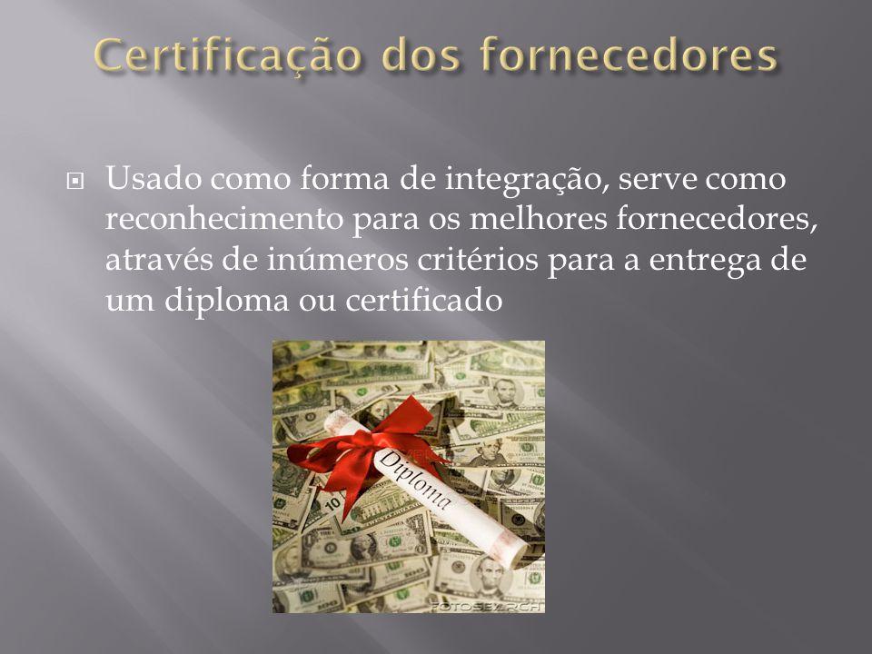 Usado como forma de integração, serve como reconhecimento para os melhores fornecedores, através de inúmeros critérios para a entrega de um diploma ou