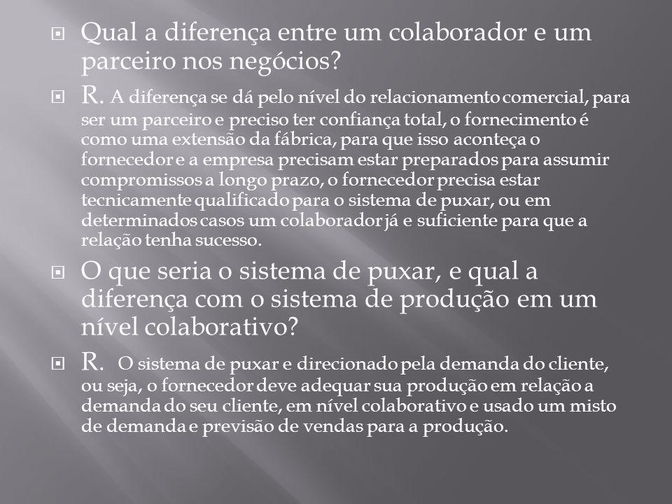Qual a diferença entre um colaborador e um parceiro nos negócios? R. A diferença se dá pelo nível do relacionamento comercial, para ser um parceiro e