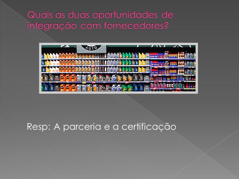 Resp: A parceria e a certificação