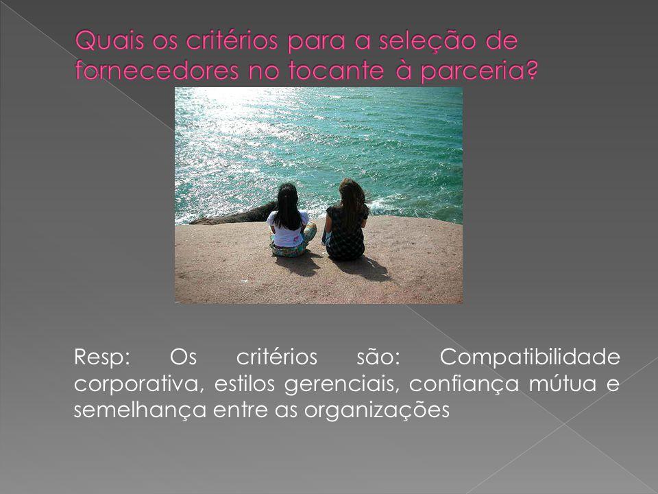 Resp: Os critérios são: Compatibilidade corporativa, estilos gerenciais, confiança mútua e semelhança entre as organizações