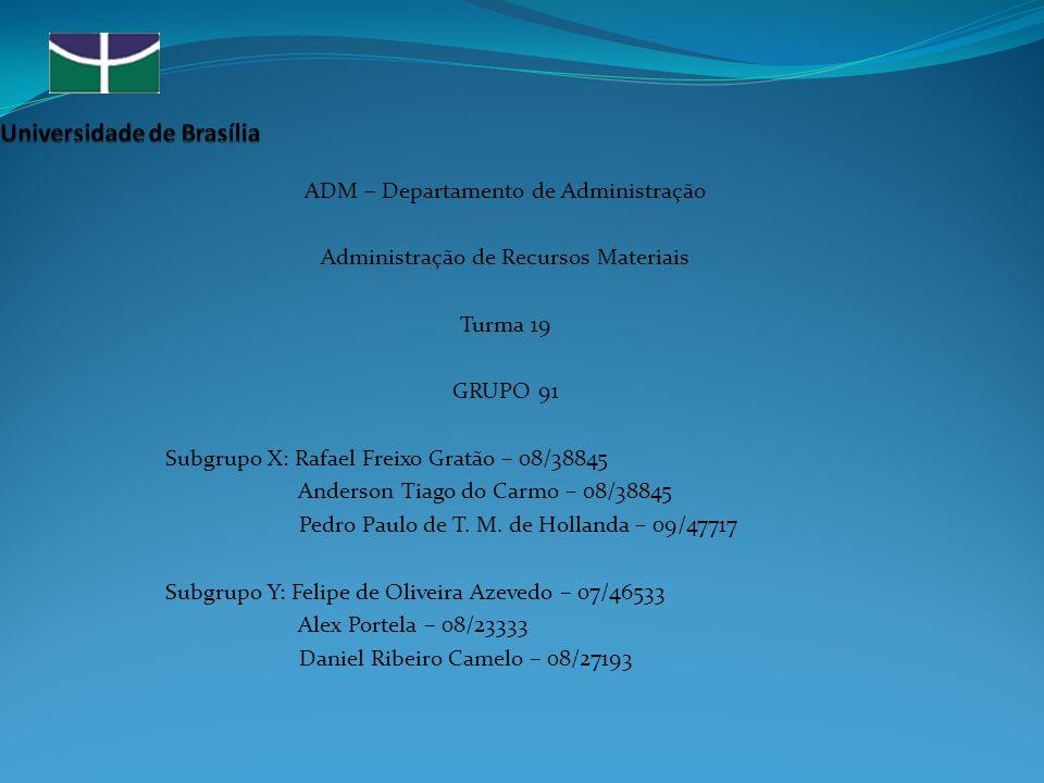 ADM – Departamento de Administração Administração de Recursos Materiais Turma 19 GRUPO 91 Subgrupo X: Rafael Freixo Gratão – 08/38845 Anderson Tiago do Carmo – 08/38845 Pedro Paulo de T.